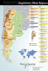 Mapa regionów winiarskich Argentyny