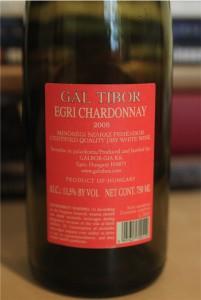 Tibor Gal Chardonnay kontr-etykieta