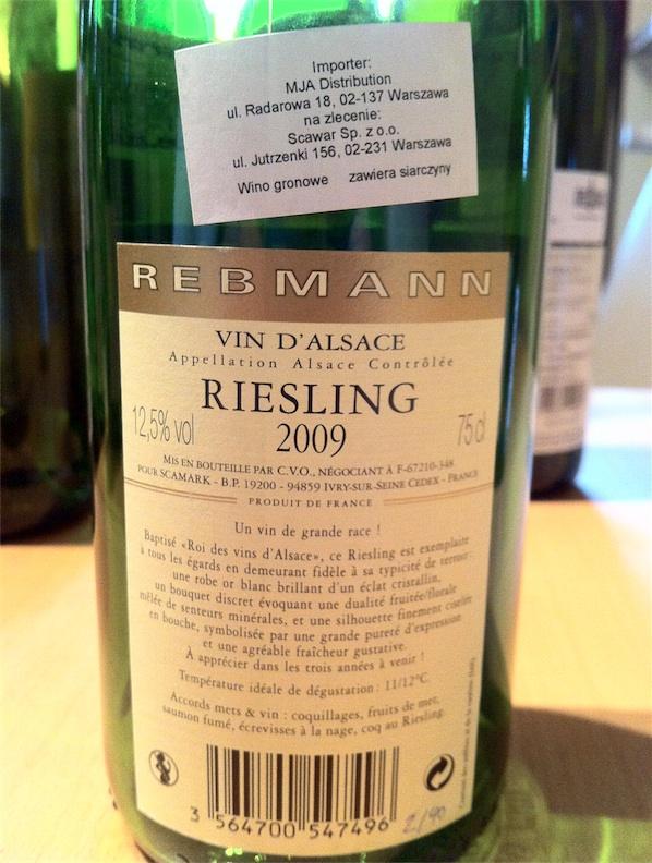 2. Rebmann, AOC Alsace, Riesling, 2009, 12,5%