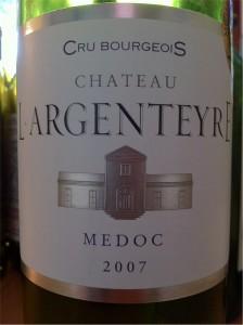 Chateau L'Argenteyre, AOC Medoc, Cru Bourgeois, 2007, 13% (Merlot 40%, Cabernet Sauvignon 45%, Petit Verdot 15%).