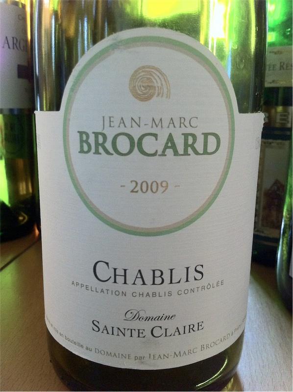 Jean Marc Brocard, Domaine Saint Claire, AOC Chablis, 2009, 12,5%.
