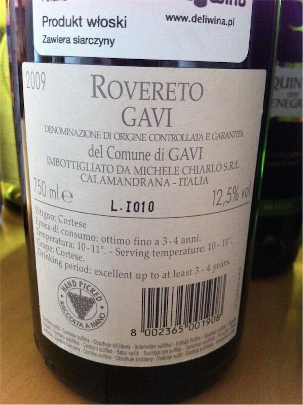 """Michele Chiarlo, """"Rovereto"""", DOCG Gavi, 2009, 12,5%"""
